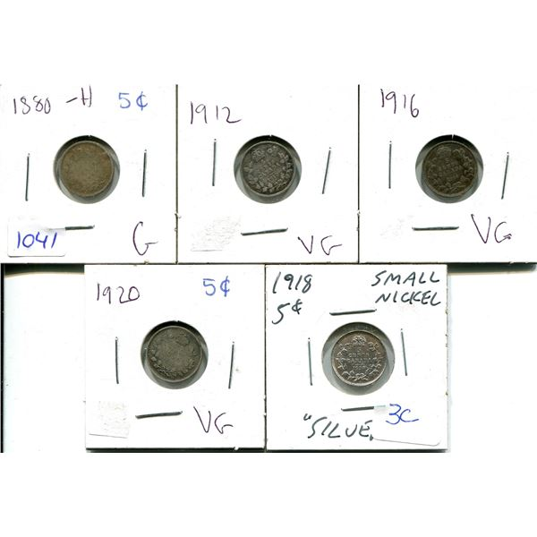 1880, 1912, 1916, 1918, 1920 5 CENTS