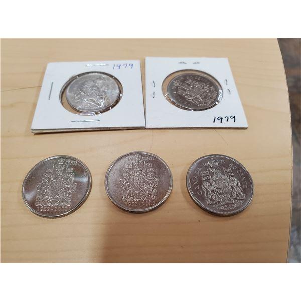 5 X 50 CENTS 1971, 1979, 2002