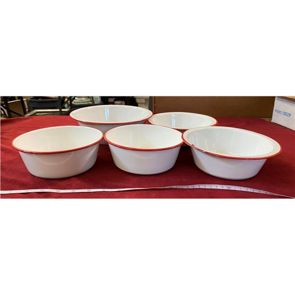 Set Of 5 Red And White Enamelware
