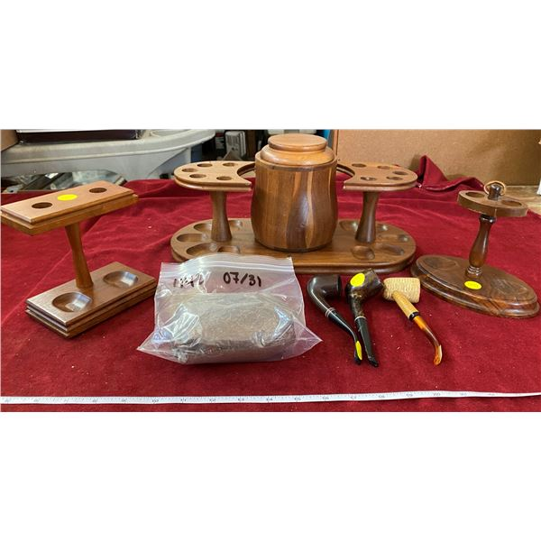 3 Walnut Pipe Rack/Holder W/ 3 Pipes + Bag Of Tobacco