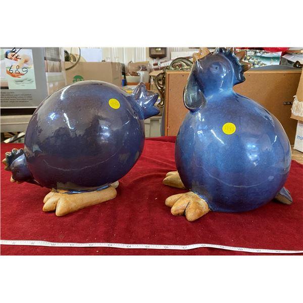 2 Ceramic Fat Chickens