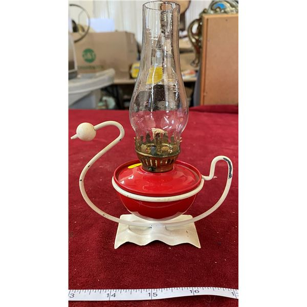 Vintage Miniature Oil Lamp With Shade
