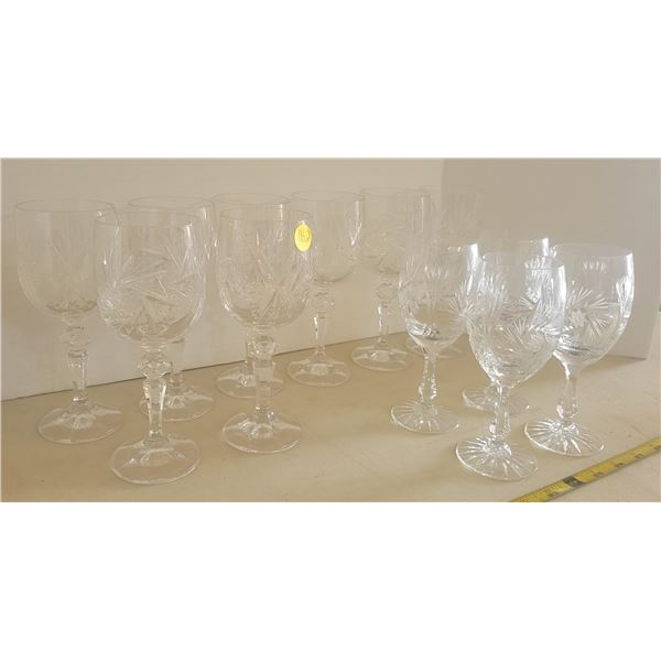 12 pinwheel crystal glasses, 8 wine, 4 liquor