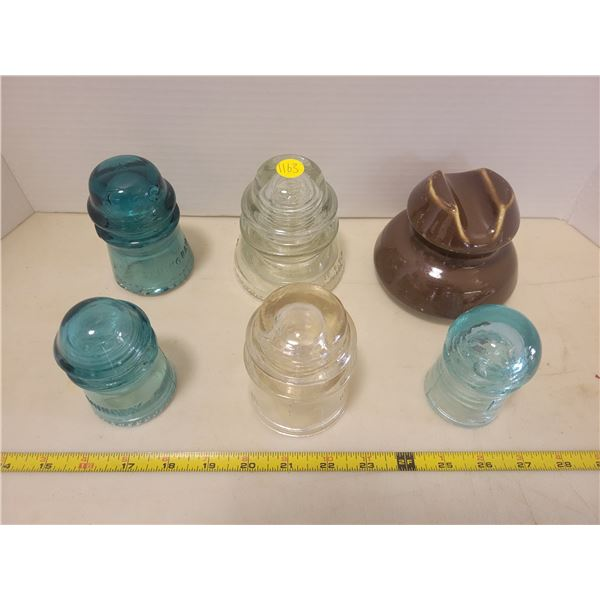 Lot of 6 glass insulators - 1 brown, 2 clear, 3 green blue