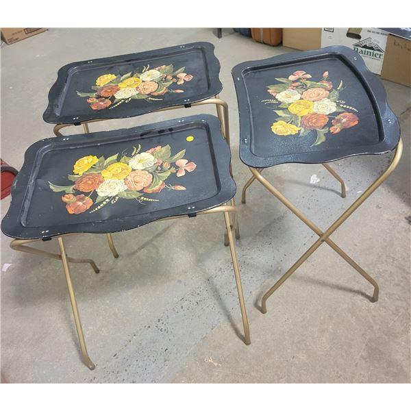 3 Black flower pattern TV trays