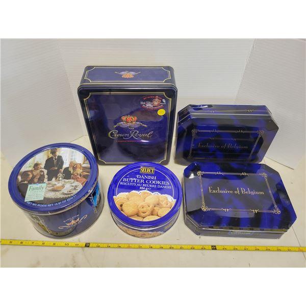 5 blue tins