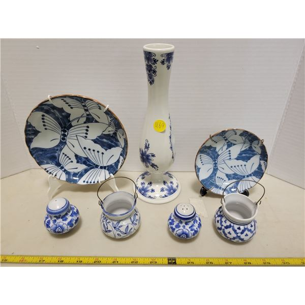 Blue Dutch vase, salt & pepper shakers, small blue vases with wire handles, 2 blue butterfly plates