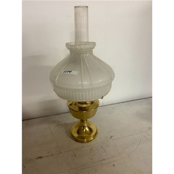 Aladdin lamp & chimney + milk glass shade #23