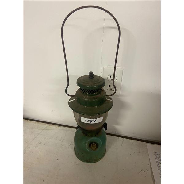Coleman lamp w/ mismatch top 1947 base, sunshine of the night globe