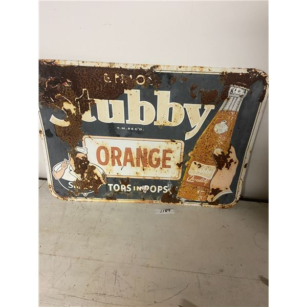 """stubby orange tin sign 20x27"""" as is barn find"""