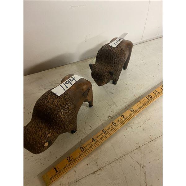 2 wooden carved buffalo cow & bull -bull has chip on horn
