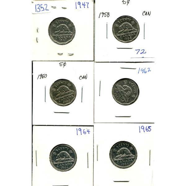 (6) Canadian Nickels 1947-1965