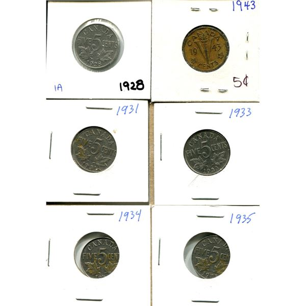 (6) Canadian Nickels 1928-1935