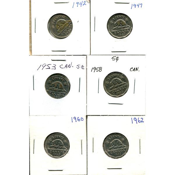 (6) Canadian Nickels 1942-1962