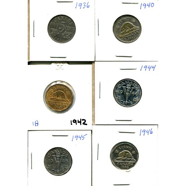 (6) Canadian Nickels 1936-1946