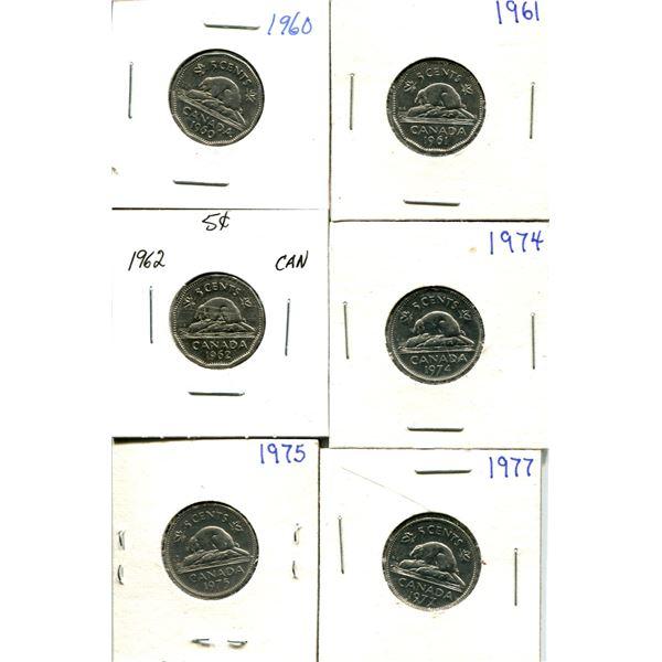 (6) Canadian Nickels 1960-1977