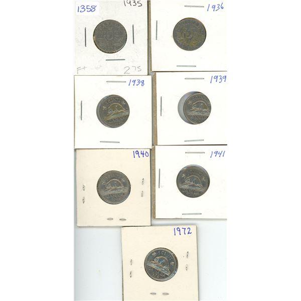 (7) Canadian Nickels 1935-1972