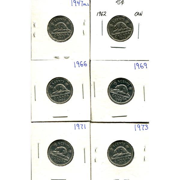 (6) Canadian Nickels 1947-1973