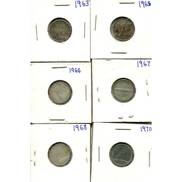 (6) Canadian Dimes 1963-1970