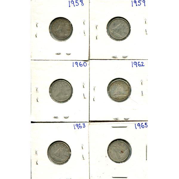 (6) Canadian Dimes 1958 + 1965