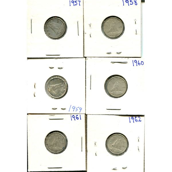 (6) Canadian Dimes 1957-1962