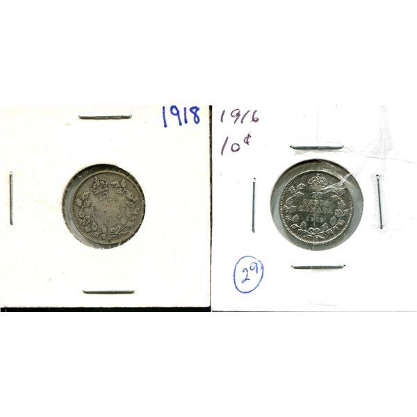 (2) Canadian Dimes 1918 + 1916