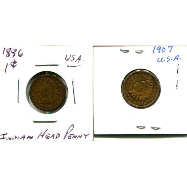(2) Indian Head Pennies USA (1896 + 1907)