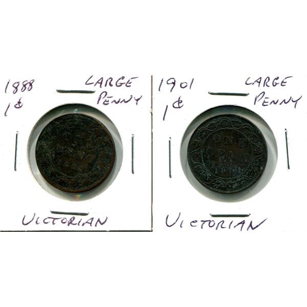 (2) Victorian Large Pennies (1888 + 1901)