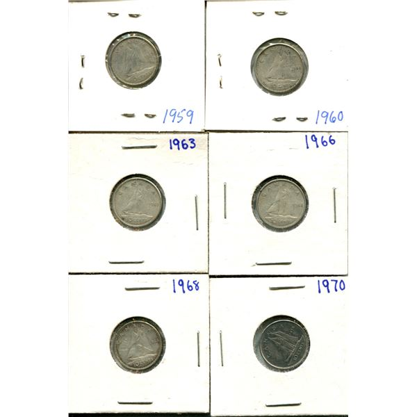 (6) Canadian Dimes 1959-1970