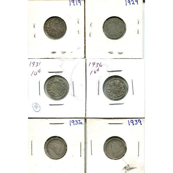 (6) Canadian Dimes 1919-1939