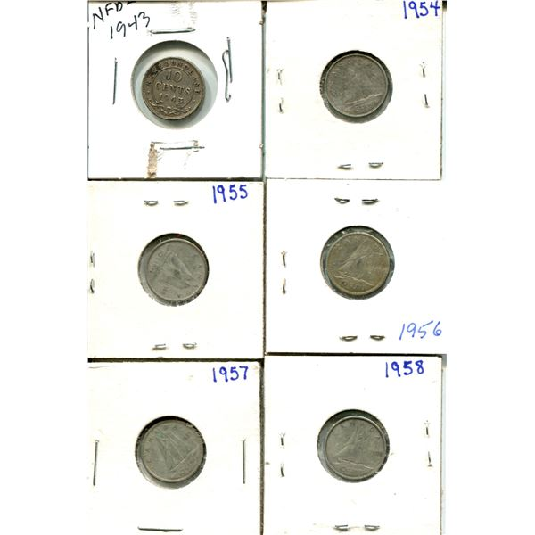 (6) Canadian Dimes 1943-1958