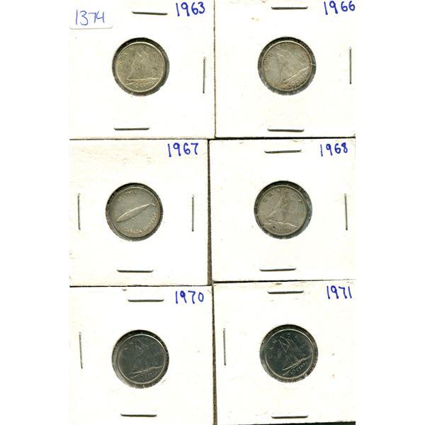 (6) Canadian Dimes 1963-1971