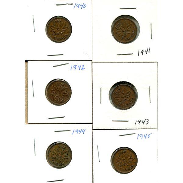 (6) Canadian Quarters 1940-1945