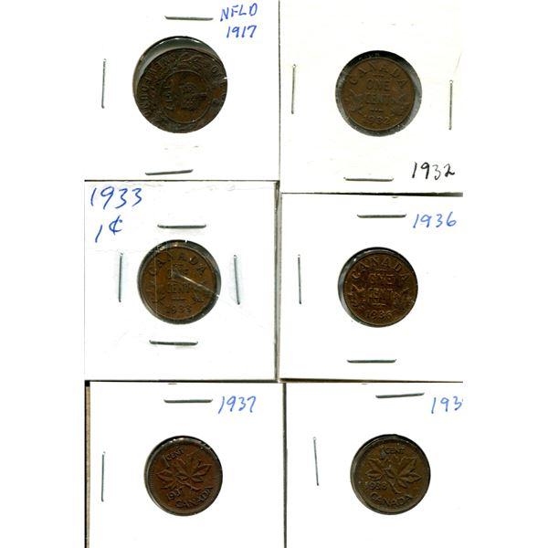 (6) Canadian Pennies 1917-1938