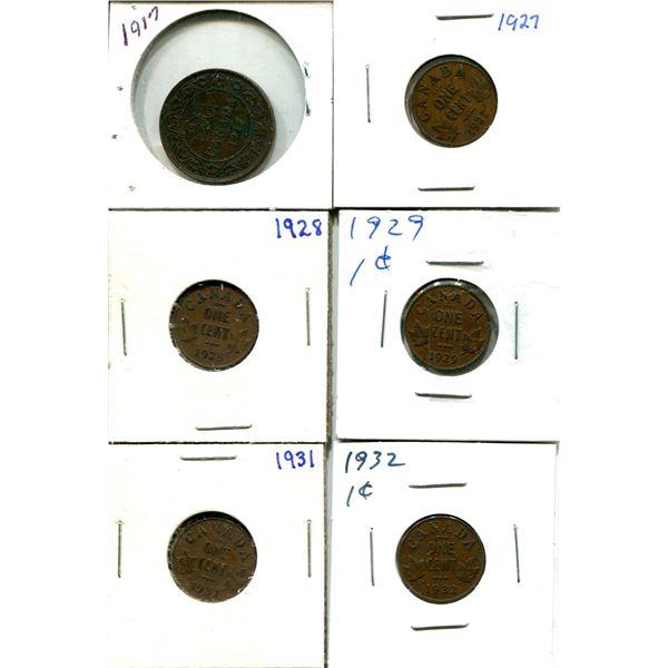 (6) Canadian Pennies 1917
