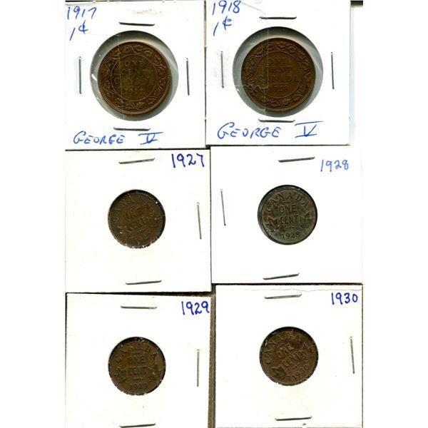 (6) Canadian Pennies 1917-1930