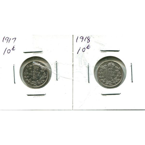 (2) Canadian Dimes 1917-1918