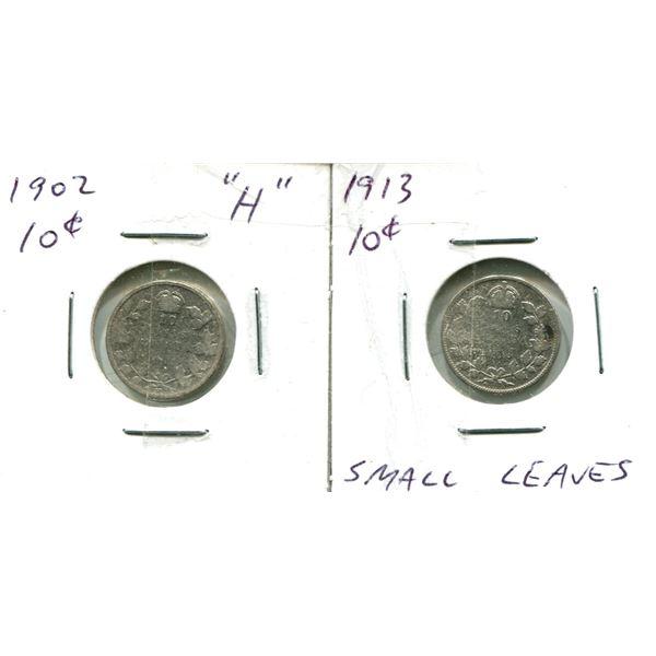 (2) Canadian Dimes 1902 + 1913