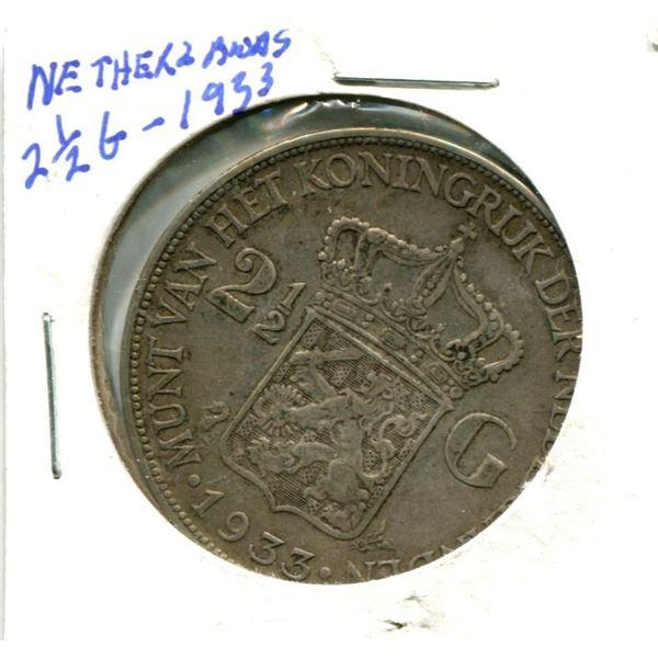 1933 Netherlands 2.5 Gulden