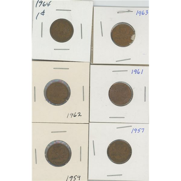 (6) Canadian Pennies 1957-1964