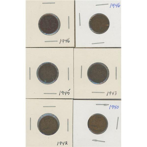 (6) Canadian Pennies 1940-1946