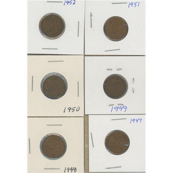 (6) Canadian Pennies 1947-1952