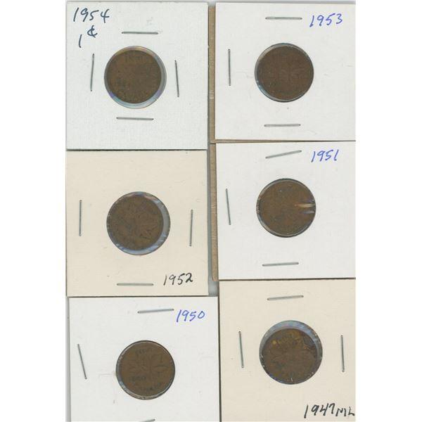 (6) Canadian Pennies 1947-1954