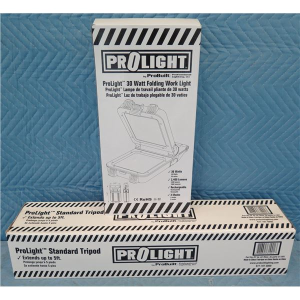 ProLight 514125 Folding Work Light Rechargeable & Standard Tripod New in Box