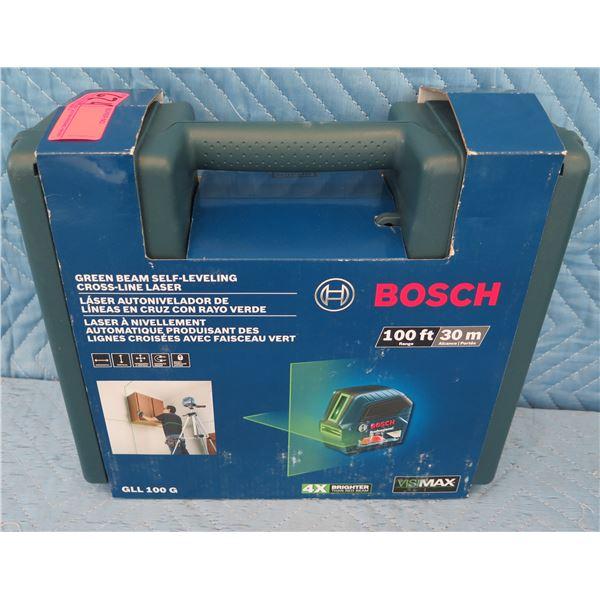 Bosch GLL100G Green Beam Self-Leveling Cross-Line Laser  New in Box