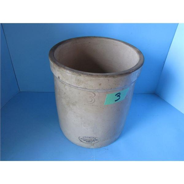 3 gallon Medalta Potteries limited medicine Hat Alberta crock- not cracked