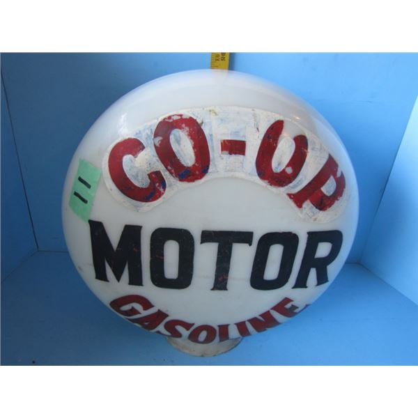 glass gasoline Bowser globe - originally said British motor oil has been over painted to say coop