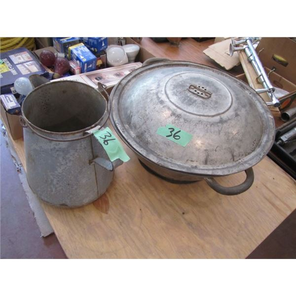 bread pan with lid and granite ware coffee pot