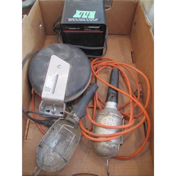 box with ceramic heater, drop lite reel, trouble light
