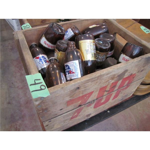 wooden 7up crate with beer bottles
